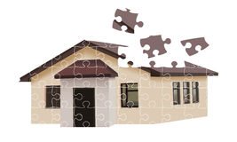 Puzzle building house. Illustration over white background Royalty Free Stock Image