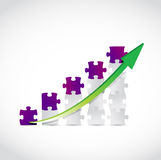 puzzle business graph and arrow illustration Stock Photos