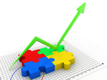 Puzzle with business graph Royalty Free Stock Images