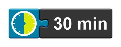 Puzzle Button blue grey: 30 Minutes. Puzzle Button blue grey with Stopwatch Icon showing 30 Minutes Stock Image