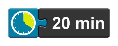 Puzzle Button blue grey: 20 Minutes. Puzzle Button blue grey with Stopwatch Icon showing 20 Minutes royalty free illustration