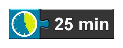 Puzzle Button blue grey: 25 Minutes. Puzzle Button blue grey with Stopwatch Icon showing 25 Minutes Royalty Free Stock Photos