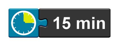 Puzzle Button blue grey: 15 Minutes. Puzzle Button blue grey with Stopwatch Icon showing 15 Minutes Stock Photos