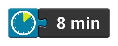 Puzzle Button blue grey: 8 Minutes. Puzzle Button blue grey with Stopwatch Icon showing 8 Minutes vector illustration