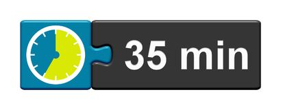 Puzzle Button blue grey: 35 Minutes. Puzzle Button blue grey with Stopwatch Icon showing 35 Minutes Royalty Free Stock Image