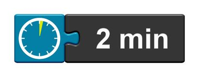 Puzzle Button blue grey: 2 Minutes. Puzzle Button blue grey with Stopwatch Icon showing 2 Minutes stock illustration