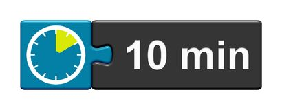 Puzzle Button blue grey: 10 Minutes. Puzzle Button blue grey with Stopwatch Icon showing 10 Minutes Stock Photos