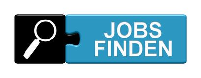 Puzzle Button: Find jobs german. Isolated Puzzle Button with Symbol showing Finf jobs in german language Stock Image