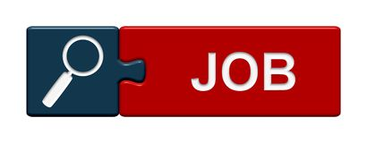 Puzzle Button: Job. A blue and red Puzzle Button showing Job Stock Image