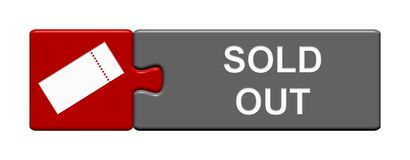 Puzzle Button: Sold Out. Isolated Puzzle Button with Ticket Symbol showing Sold Out vector illustration
