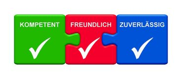 3 Puzzle Buttons showing Capable Friendly Reliable german 3D illustration. Three Puzzle Buttons with tick symbols showing Capable Friendly Reliable in german vector illustration
