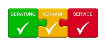 3 Puzzle Buttons showing Consulting Disposal Service german. Three Puzzle Buttons with tick symbol showing Consulting Disposal Service in german language Stock Photo