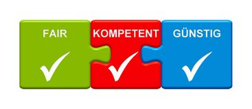 3 Puzzle Buttons showing Fair Capable Cheap german. Three Puzzle Buttons with tick symbol showing Fair Capable Cheap in german language royalty free illustration