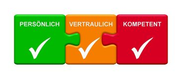 3 Puzzle Buttons showing Personal Confidential Capable german. Three Puzzle Buttons with tick symbol showing Personal, Confidential, Capable in german language Royalty Free Stock Image