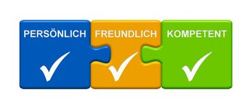 3 Puzzle Buttons showing Personal Friendly Capable german. Three Puzzle Buttons with tick symbol showing Personal Friendly Capable in german language Stock Photography