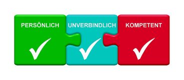 3 Puzzle Buttons showing Personal Tentative Capable german. Three Puzzle Buttons with tick symbol showing Personal Tentative Capable in german language stock illustration