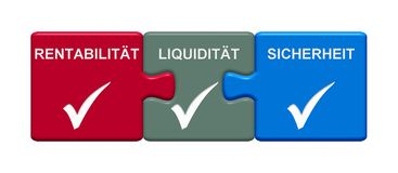 3 Puzzle Buttons showing  Profitability Liquidity Safety german. Three Puzzle Buttons with tick symbol showing Profitability Liquidity Safety in german language Stock Photos
