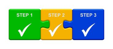 3 Puzzle Buttons showing Step 1, 2, 3 vector illustration