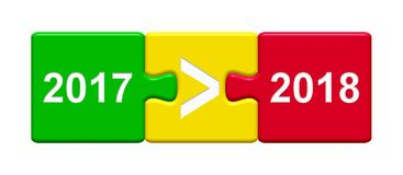 3 Puzzle Buttons showing 2017 and 2018. Three Puzzle Buttons with tick symbol showing year 2017 and 2018 Royalty Free Stock Photos