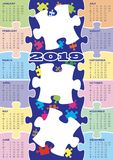 Puzzle calendar 2019 full of colours. English language with three blank frames for pictures royalty free illustration