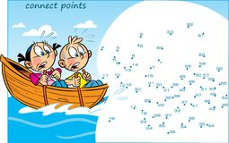Puzzle with cartoon children who are floating vector illustration