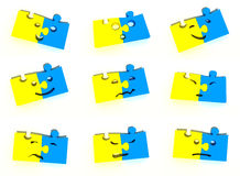 Puzzle character. 3d collection of characters from puzzles Stock Photography
