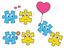 Puzzle characters in love Royalty Free Stock Photos