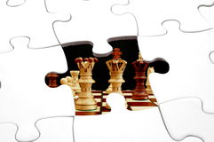 Puzzle and chess. Showing strategic business concept Royalty Free Stock Photography