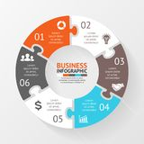 Puzzle circle infographic, diagram with options Royalty Free Stock Photo