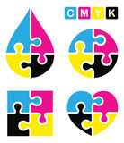 Puzzle cmyk logo. Illustration of puzzle cmyk logo on white background Royalty Free Stock Photo