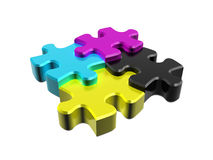 Puzzle CMYK in perspective. In 3D, on a white background Vector Illustration