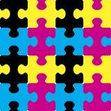 Puzzle CMYK seamless pattern. Stock Photo