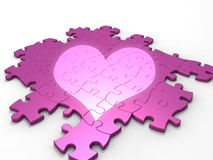 Puzzle coeur. 3d illustration of pink puzzle in spotlight heart-shaped Stock Photos