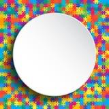 Puzzle coloré de fond de bannière blanche de cercle Image libre de droits