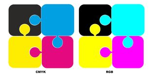 Puzzle with color cmyk and rgb Royalty Free Stock Photo