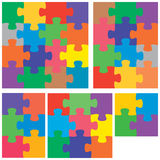 Puzzle color. A colorful variety of flat jigsaw puzzles Royalty Free Stock Images