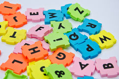 Puzzle color plastic Royalty Free Stock Image