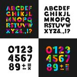 Puzzle colorful and black creative font. Flat design. Vector illustration. Isolated on black and white background.  royalty free illustration