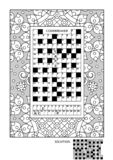 Puzzle and coloring activity page for adults Stock Illustration