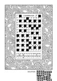 Puzzle and coloring activity page for adults Royalty Free Illustration