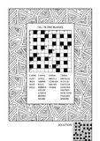 Puzzle and coloring activity page for adults. Puzzle and coloring activity page for grown-ups with criss-cross, or fill in, else kriss-kross word game English Royalty Free Stock Images