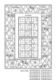 Puzzle and coloring activity page for adults. Puzzle and coloring activity page for grown-ups with two sudoku puzzles of comfortable level and wide decorative royalty free illustration