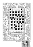 Puzzle and coloring activity page for adults Stock Image