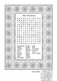 Puzzle and coloring activity page for adults Royalty Free Stock Photography