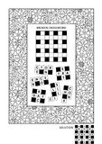 Puzzle and coloring activity page for adults. Puzzle and coloring activity page for grown-ups with word game English and wide decorative frame to color. Family royalty free illustration