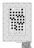 Puzzle and coloring activity page for adults Royalty Free Stock Photo