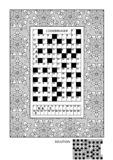 Puzzle and coloring activity page for adults. Puzzle and coloring activity page for grown-ups with codebreaker, or codeword, else code cracker word game English stock illustration