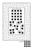 Puzzle and coloring activity page for adults. Puzzle and coloring activity page for grown-ups with criss-cross, or fill in, else kriss-kross word game English Royalty Free Stock Photos