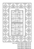Puzzle and coloring activity page for adults. Puzzle and coloring activity page for grown-ups with two sudoku puzzles of comfortable level and wide decorative vector illustration