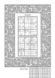 Puzzle and coloring activity page vector illustration